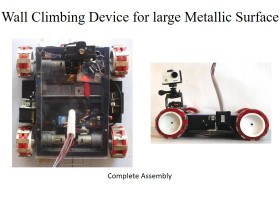 Wall Climbing Device for Inspection of Large Metallic Surfaces